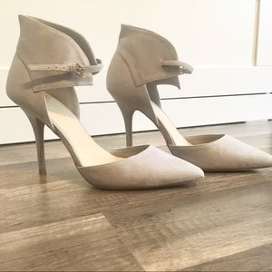 - Wild Diva | Light Grey Suede Pointy Toe Heel